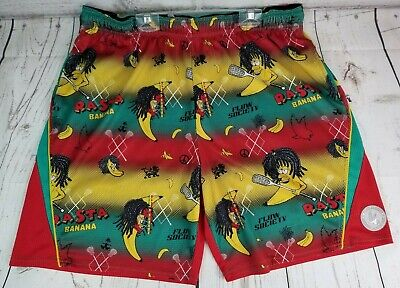 ce30f62d5aaea Flow Society Authentic Lacrosse Gear Shorts Rasta Banana Green Red Yellow XL