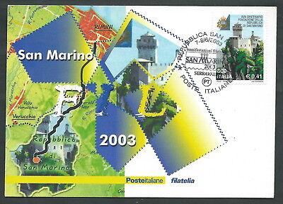 2003 ITALIA CARTOLINA POSTALE CONVEGNO SAN MARINO ANNULLO SPECIALE