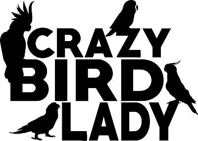 Crazy Bird Lady Decal Window Bumper Sticker Cockatoo Cockatiel Parrot Conure](Crazy Bird)