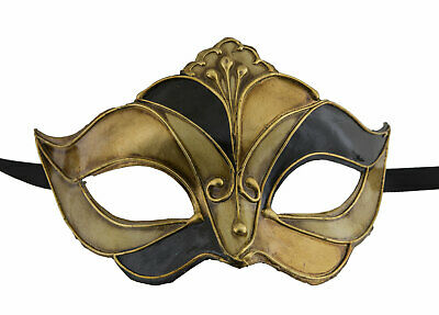 Mask from Venice in Tip Harlequin Black Golden Authentic Paper Mache 22511