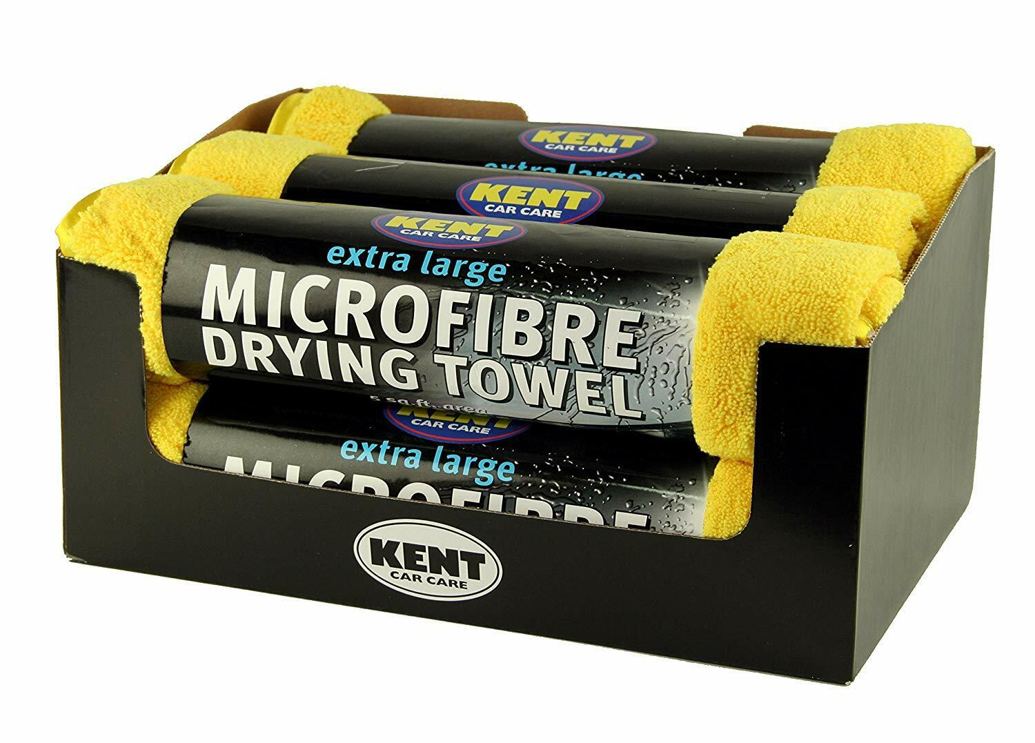 KENT MICROFIBRE TOWEL CLOTH EXTRA LARGE DRYING CAR CARE VALETING 5 SQ FT 6 PACK