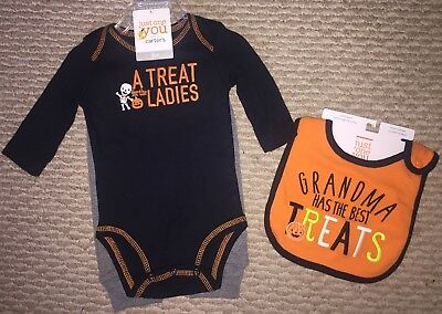 NWT Halloween Carters A Treat for the Ladies Infant Outfit 3 Months With Bib - Halloween Outfits For Babies