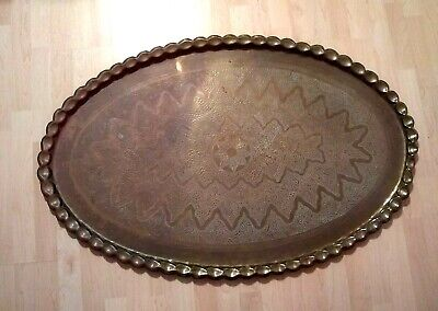 Large Oval Brass Tray, Table Top, Pie Crust Edge, 45 1/2