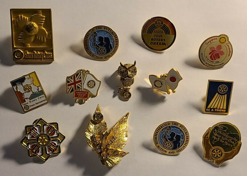 ROTARY INTERNATIONAL VINTAGE collectible THEME pins--LOT OF 13