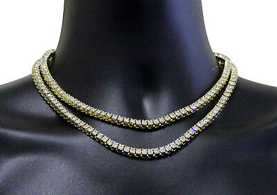 "2pc Choker Chain Set Tennis Links 14k Gold Plated Hip Hop 16"" 18"" Necklaces"