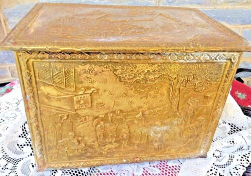 Antique  Kindling Wood Storage Box Ann Hathaway Brass Wood Hinged