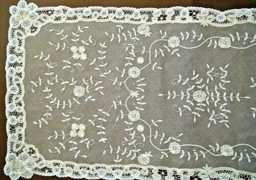 19c Antique Veil shawl runner fine mesh  Brussels Princesses  lace H made