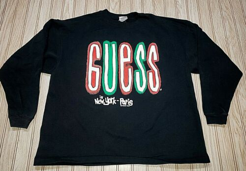 vtg 90s 1990 Guess New York Paris Georges Marciano Sweater Sweatshirt Shirt USA