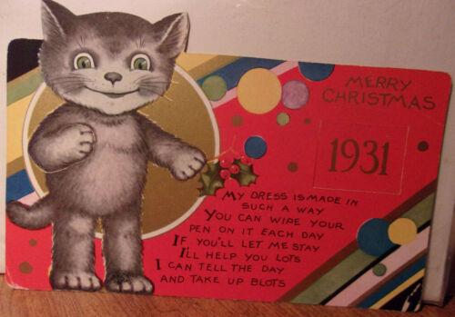 "1931 Cat Christmas Card 7x5"" Vintage Christmas Card"