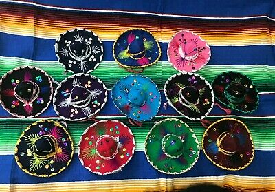 SET OF 12 MEXICAN MINI CHARRO HATS,PARTY FAVORS,DECORATIONS,SOMBRERO,MARIACHI - Mini Sombrero Party Hats