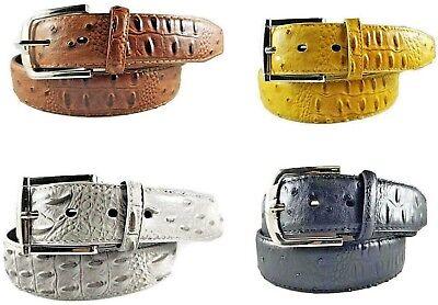 MEN FAUX ALLIGATOR CROCODILE SKIN GENUINE LEATHER STITCHED BELT w BELT - Leather Stitched Belt Buckle