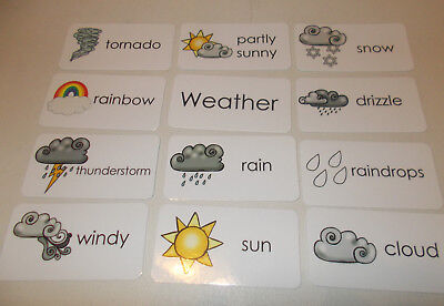 11 Laminated Basic Weather Picture and Word Flashcards. Preschool and Daycare le