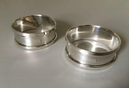 Pair Of Vintage 1934 Solid Sterling Silver Engine Turned Napkin Serviette Rings