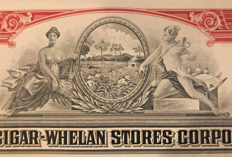 United Cigar Whelan Stores Corporation > set of 12 tobacco stock certificates