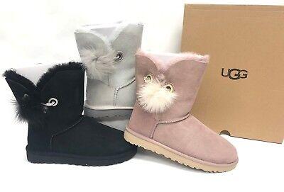 UGG Australia Irina Crystal Pin Pom Pom Boots Grey Violet Black Dusk 1017502 Crystal Pom Poms