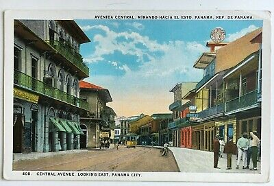Postcard Panama City Central Avenue looking East stores pedestrian trolley (Panama City Stores)