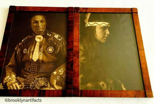 2 Antique Native American Indian Platinum Photograph Prints in Wood Frames