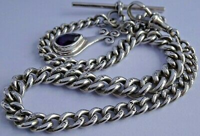 Fantastic antique solid silver pocket watch albert chain & fob set purple stone