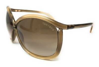 TOM FORD TF201 98P 64MM BROWN TRANSPARENT SUNGLASSES CHARLIE AUTHENTIC W/ CASE