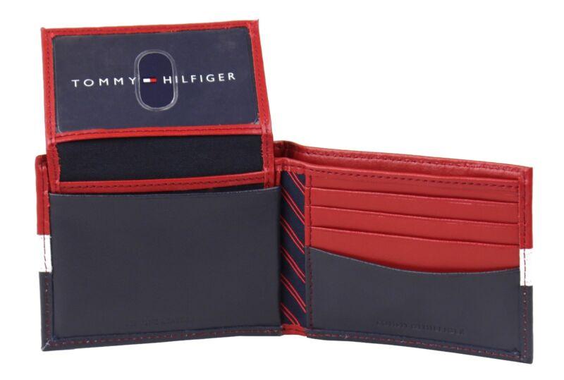 Tommy Hilfiger Men/'s Leather Credit Card Wallet Id Billfold Navy 31tl22x046