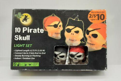 Vintage Pirate Skull Halloween String Lights NEW Old Stock! 10 Lights WORK!