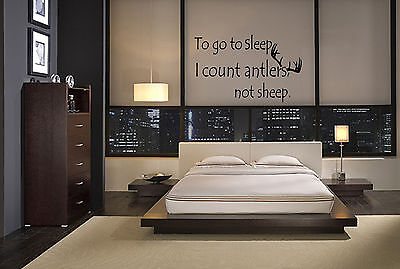 TO GO TO SLEEP I COUNT ANTLERS NOT SHEEP VINYL WALL ART DECAL QUOTE BEDROOM HOME on Rummage