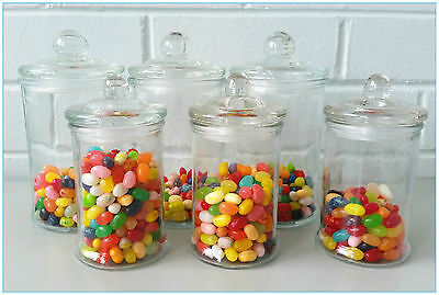 12 SET Glass Apothecary Candy Lolly Buffet Jar Candle Waxing, Wedding & Party Apothecary Glass Jar Wax Candle