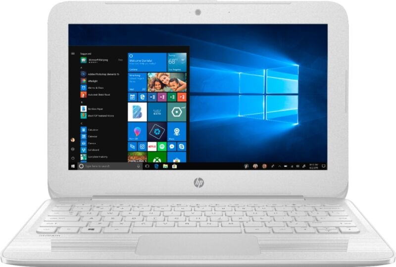 "HP Stream 11.6"" Laptop Intel Celeron 4GB Memory 64GB eMMC Flash Memory Textured Linear Grooves In Snow White 11-AH112DX"