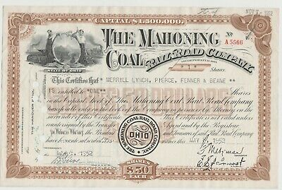 - Mahoning Coal Railroad Company Stock Certificate Ohio