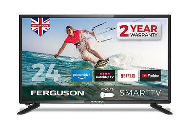 "FERGUSON 24"" INCH 12v TV LED SMART FREEVIEW HD  WIFI HDMi USB1080i CARAVAN TV"