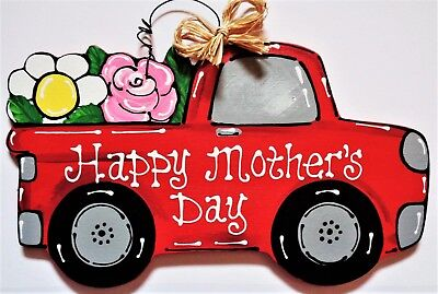 HAPPY MOTHERS DAY Vintage Style RED TRUCK SIGN Wall Art Door Hanger Plaque Decor](Happy Mothers Day Signs)