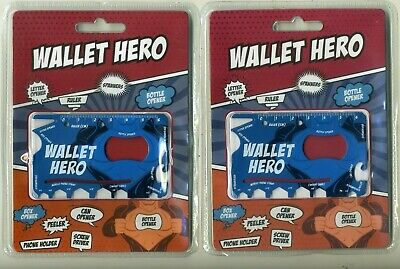 Wallet Hero Novelty Christmas Gift Credit Card sized Multi Tool x 2 New