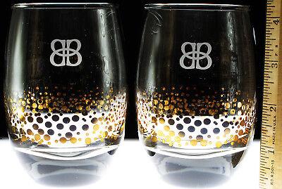 Baileys Gold Bubbles Dots Glasses Lot of 2 Irish Whiskey Liqueur Whisky Tumbler