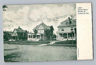 Coffeyville Kansas Ks Willow Street View 1901 1907 Antique Postcard Mailed 1950