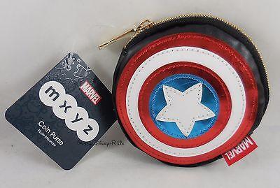 New Disney Store Marvel Captain America Shield Logo MXYZ Coin Purse Wallet
