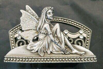 Business Card Holder Fairy Metal Pewter Fantasy Mythological Office Desk Wings