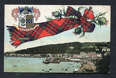 View of the Esplanade & Pier, Rothesay with Fraser Tartan. Stamp/Postmark 1910