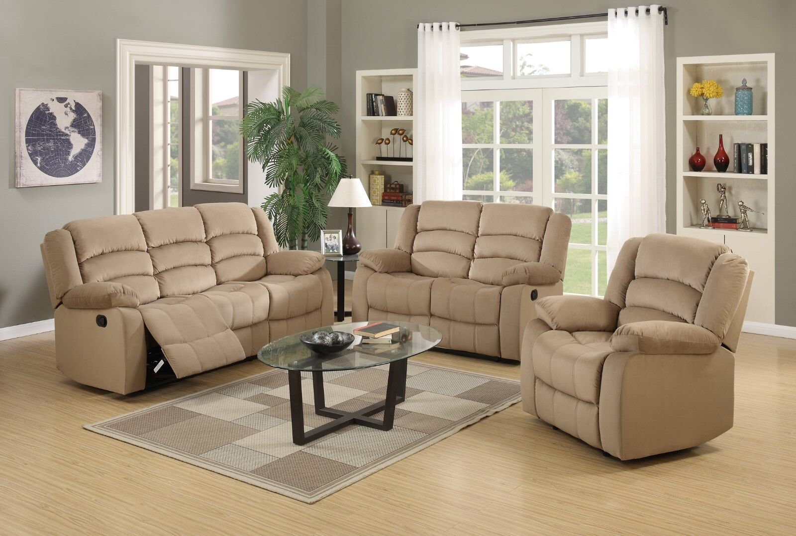 3 PCS Reclining Living Room Set in Mocha color Motion by Gl