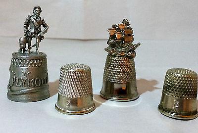 Selection of 4 metal thimbles: Francis Drake, a sailing ship, plus sizes 2 & 3
