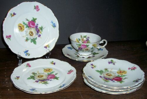 "7 pc MITTERTEICH MEISSEN FLORAL 2 BREAD 6.75"" 1 CUP & 4 SAUCERS NEVER USED"