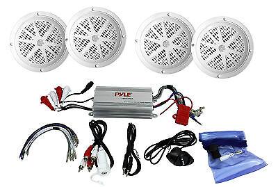 """Pyle 4 Channel Marine MP3/iPod Amplifier Amp + 4) 6.5"""" Waterproof Speakers"""