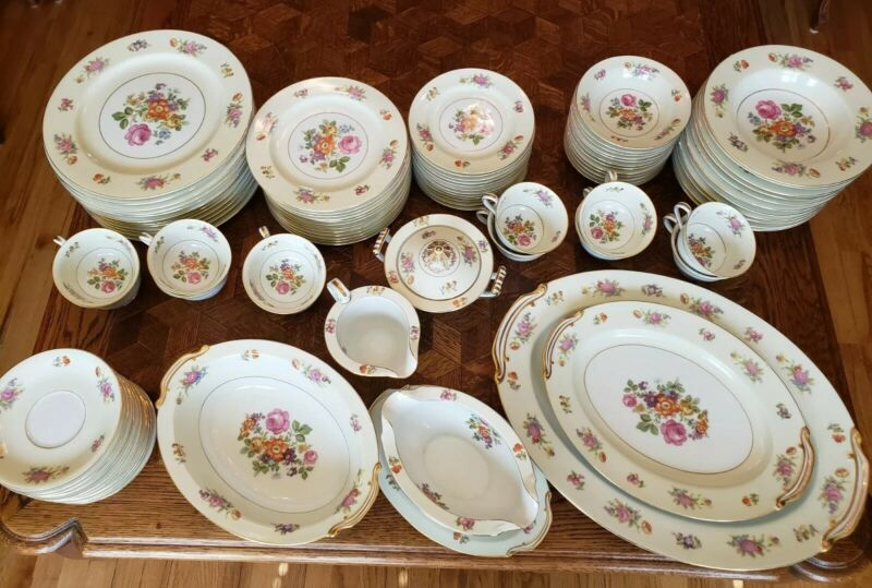 ROSE CHINA Occupied Japan Floral Dinnerware Service for 12 Total 90 Pieces EUC