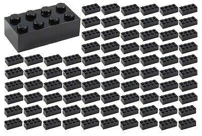 ☀️100 NEW LEGO 2x4 BLACK Bricks (ID 3001) BULK Parts star wars Starwars lot -
