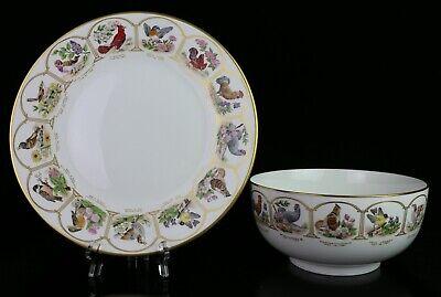 Boehm Bowl & Plate Set ~ Birds and Flowers Of the Thirteen Original States