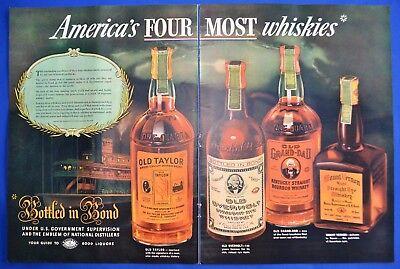 1936 Vintage ad Old Taylor Whiskies Photo Old Grandad Old Overholt Rye 2 page ad