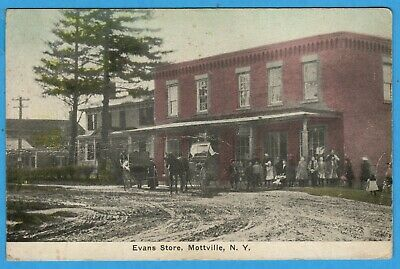 Mottville NY Onondaga County, Evans Store, Horse & Buggies, People Postcard 1913