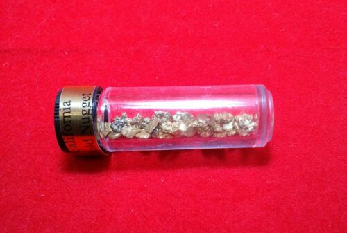 5.0 grams natural gold nuggets in a vial # 8 mesh