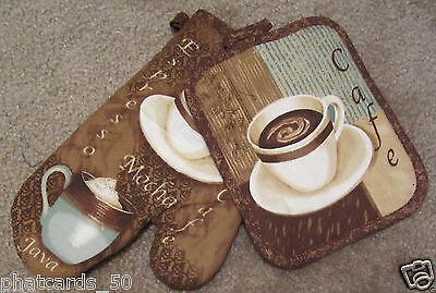 - Kitchen oven Mitt Pot holder set cafe Mocha latte coffee cappuccino Cup Design