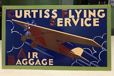 Curtiss Flying Service Air Baggage Metal Sign 15 X9  Pilot Aviation Euc