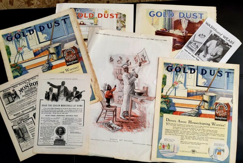 Lot of 8 BLACK AMERICANA CREAM of WHEAT GOLD DUST MINISTREL ADS Original Vtg +++